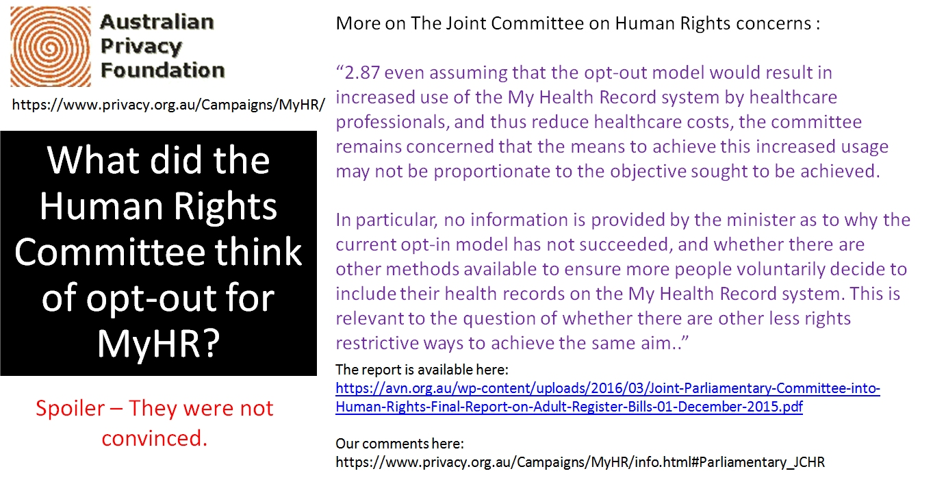 What the Human Rights Committee thinks of opt-out 2
