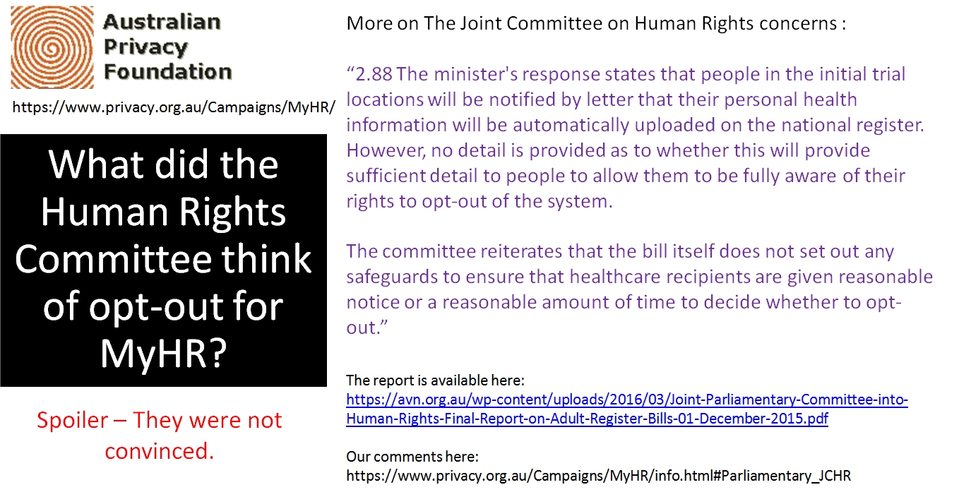 What the Human Rights Committee thinks of opt-out 3