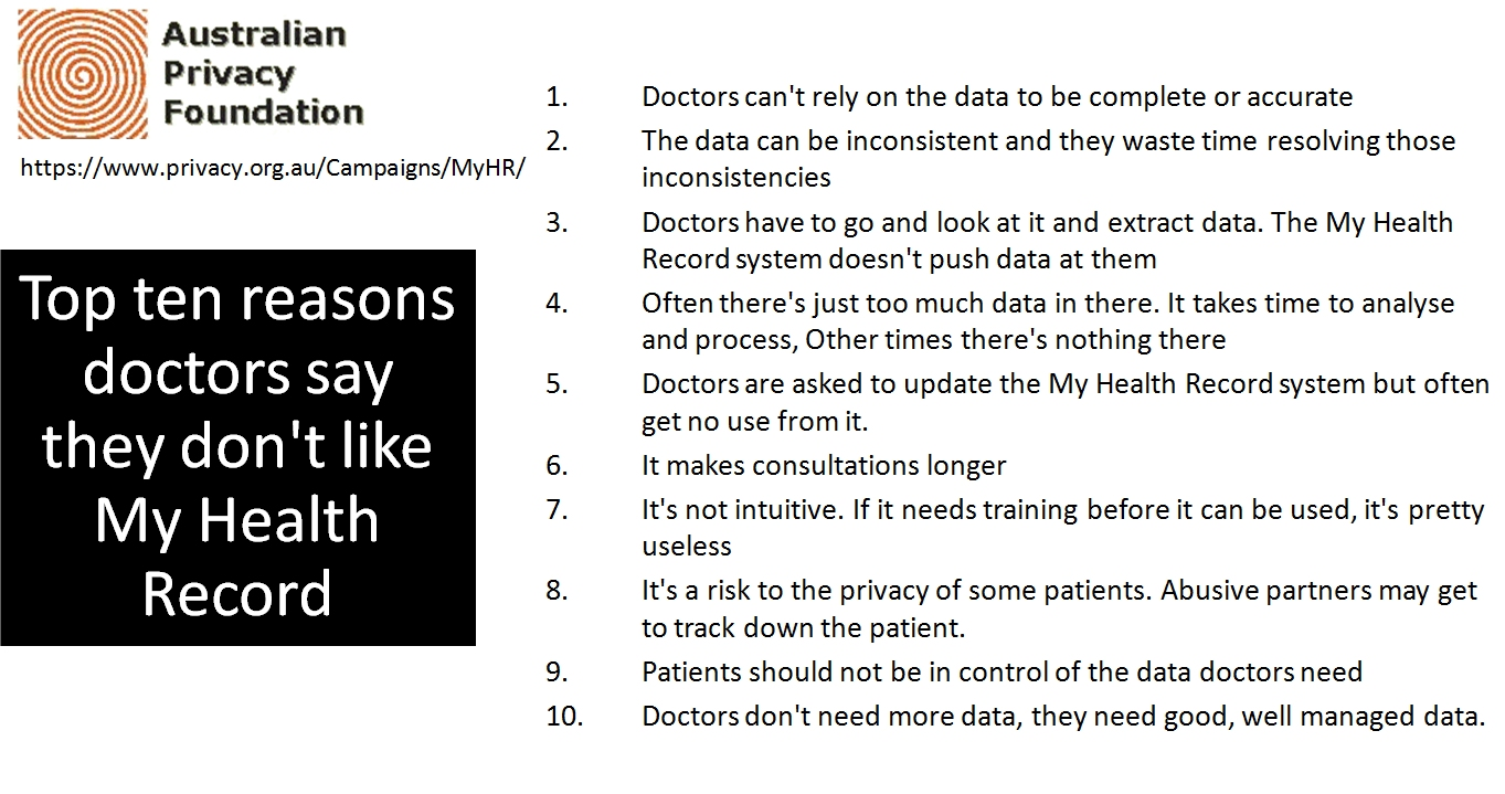 Top ten reasons say they don't like MyHR